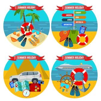 육지와 물 개념으로 여행하는 여름 방학 포스터 세트. 열대 풍경을 배경으로 좋은 여행을 위한 액세서리 및 교통 수단
