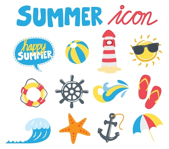 Set of summer icon in doodle style