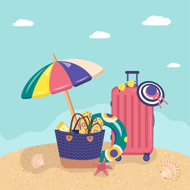 Набор летних предметов на песчаном пляже