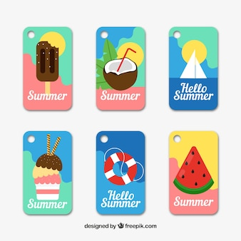 Set of summer labels with beach elements