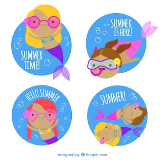 Set of summer labels with mermaids in colors