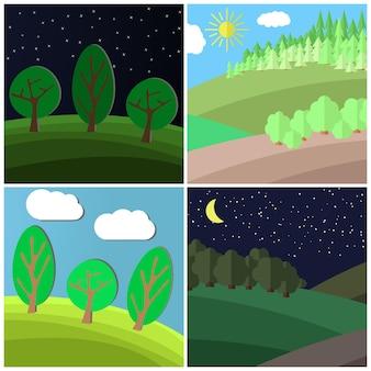 여름 풍경의 집합입니다. 숲에서 개간에 낮과 밤입니다. 만화 벡터 일러스트 레이 션.