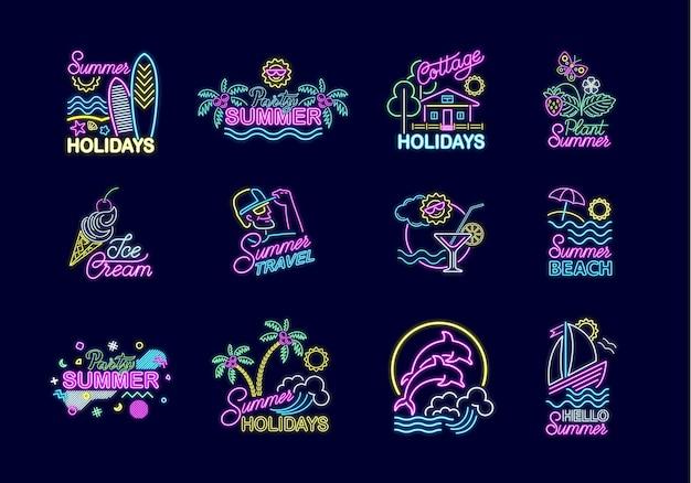 밝은 조명이 있는 여름 네온 사인 세트입니다. 여름 방학 간판, 로고, 네온 엠블럼, 야간 밝은 광고. 여행, 바다에서 휴식, 자연, 파티, 과자, 해변. 벡터 일러스트 레이 션