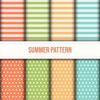 夏のパステルカラーのストライプとドットパターンのセット。