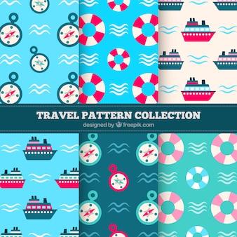 평면 디자인에 여름 패턴의 집합