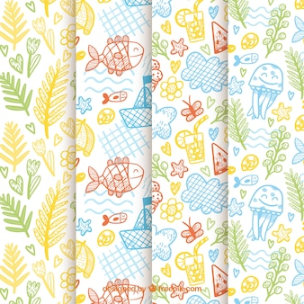 Set of summer patterns with beach elements in hand drawn style