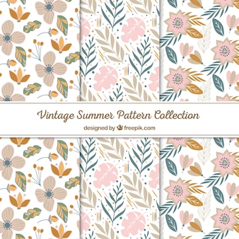 Set of summer patterns with beach elements in vintage style