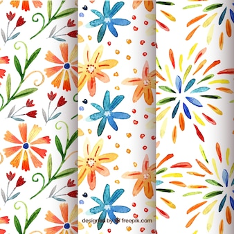Set of summer patterns with colorful flowers in watercolor style