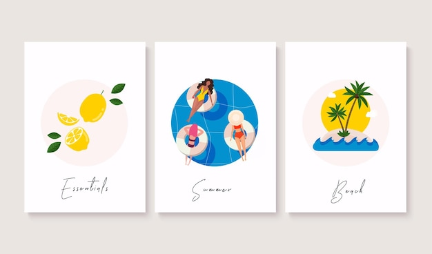 여름 포스터 삽화의 세트