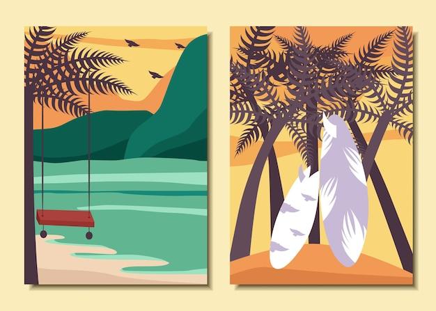 여름 포스터의 집합입니다. 바다, 야자수, 해변.