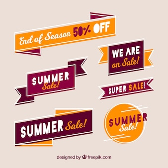 Set of summer sale badges in hand drawn style