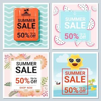 Набор летней распродажи баннера