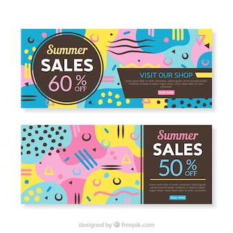 Set of summer sale banners in memphis style