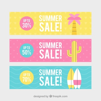 Set of summer sale banners with beach elements