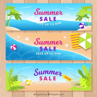 Set of summer sale banners with beach view