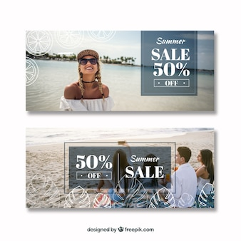 Set of summer sale banners with photography