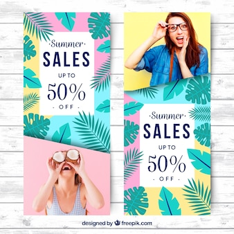 Set of summer sale banners with picture