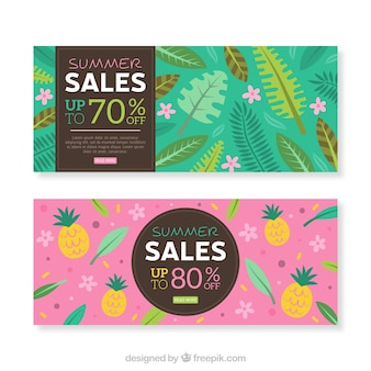 Set of summer sale banners with plants and fruits