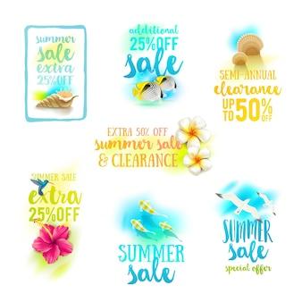 Набор дизайнов летней распродажи летние каникулы и каникулы иллюстрации