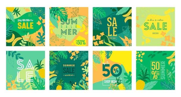 Набор плакатов летней распродажи с тропическими листьями и цветами, рекламный баннер и тропический фон в современном плоском стиле, весеннее специальное предложение, рекламный плакат, флаер. векторная иллюстрация