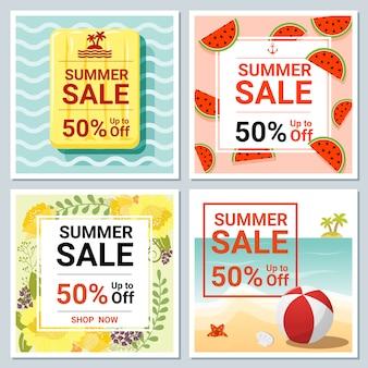 Набор летней распродажи шаблон баннера