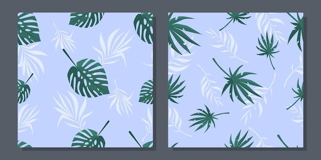 熱帯の葉と夏のシームレスなパターンのセット