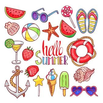 夏の貝殻、アイスクリーム、イチゴのセット