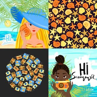 텍스트 및 패턴에 대한 여름 템플릿 집합입니다. 만화 스타일입니다. 벡터 일러스트 레이 션.