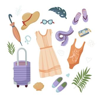 여행 및 휴가를 위한 여름 물건 세트