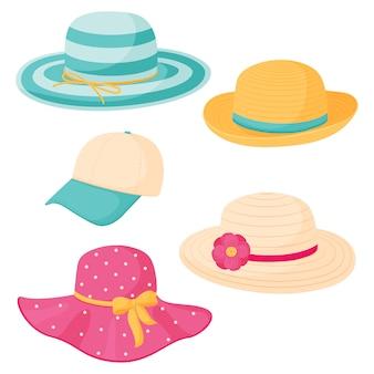 夏の女性の帽子のセット