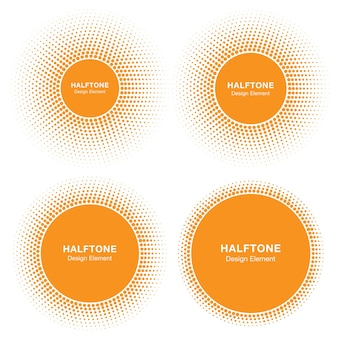 Набор элементов дизайна логотипа полутоновых кругов солнца солнце векторных иконок эмблема полутоновых изображений солнца