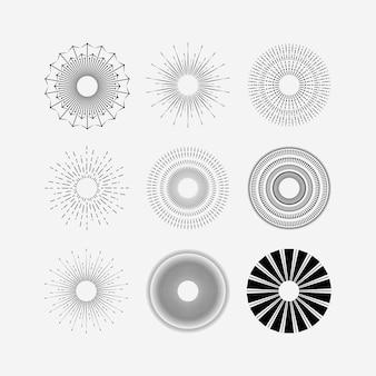 サンバースト背景ロゴベクトルイラストテンプレートデザイン、バーストサークルテンプレートアイコン春の星のセット