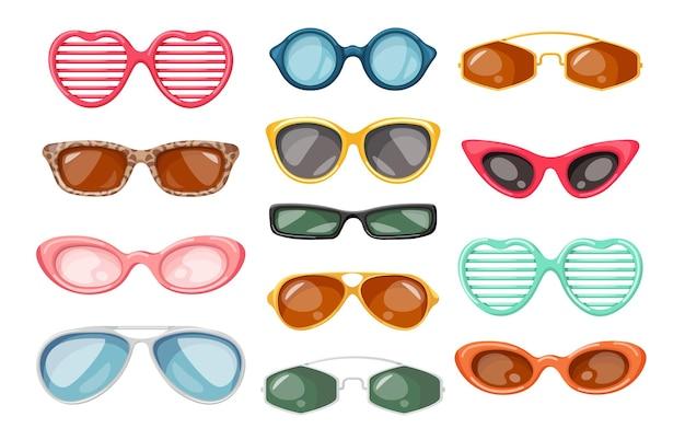 サングラス、太陽光線の目の保護のための夏のアクセサリー、さまざまなモダンなデザイン、白い背景で隔離の子供、男性、女性のためのスタイリッシュなメガネのセット。漫画のベクトル図、アイコン