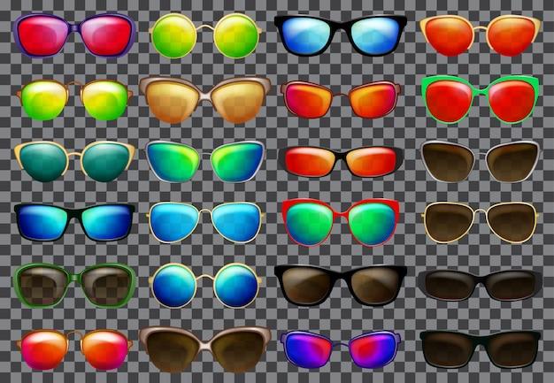 色とりどりのフレームと半透明のメガネのサングラスのセット。