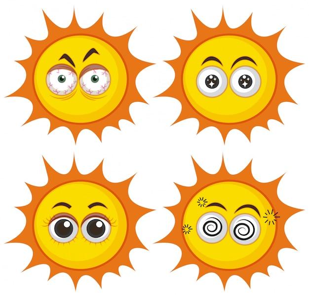 異なる表現の太陽のセット