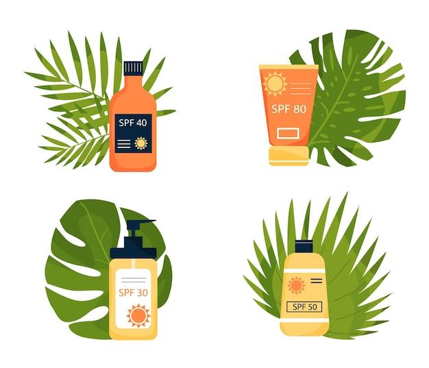 Набор солнцезащитных кремов на земле из тропических листьев тубусы с надписью spf