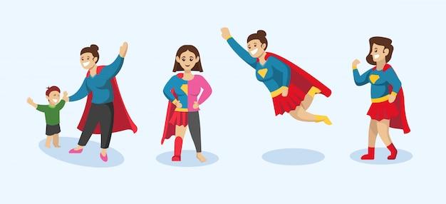 スーパーママ、スーパーヒーローのポーズの母デザインイラストのセット