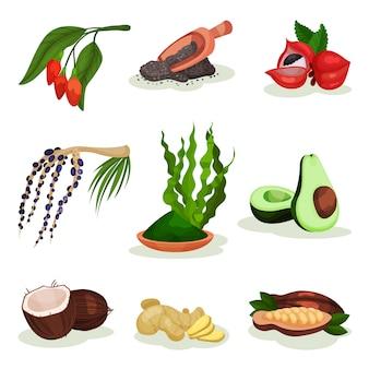 スーパーフードのセット。ゴジとアサイの果実、アボカド、ココナッツ、スピルリナグラス、チアシード、ガラナ、ジンジャー、カカオ豆。健康食品