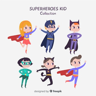 Set of superhero kids