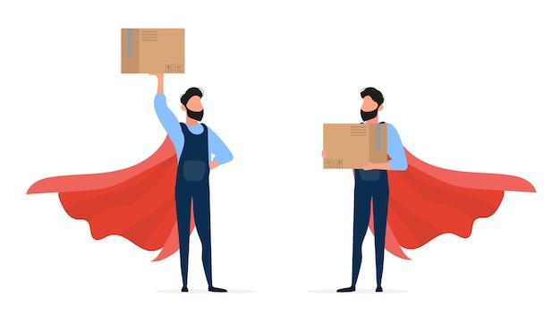슈퍼 히어로 로더 세트. 작업 바지의 로더는 상자를 보유합니다. 손에 상자를 든 남자. 흰색 배경에 고립. .