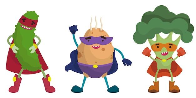 Набор овощей супергероя. огурец, картофель и брокколи в мультяшном стиле.