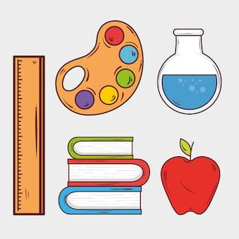 Набор материалов для образования на белом фоне