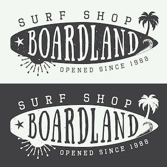 Набор серфинг логотипов, этикеток, значков и элементов в винтажном стиле. векторная иллюстрация