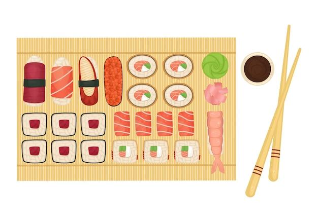 Набор суши и роллов на деревянной доске с соевым соусом, васаби и имбирем. японская еда.