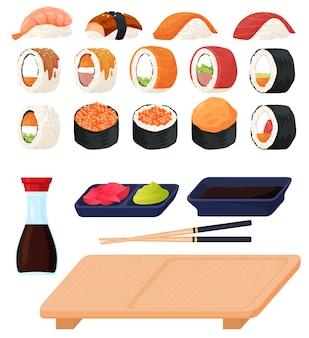 さまざまな種類の寿司と刺身、ソース、わさび、寿司スティックのセット。フラットな漫画スタイルのカラフルなイラスト。