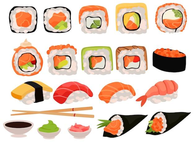 Набор суши. коллекция различных вкусных роллов и приспособлений для еды.