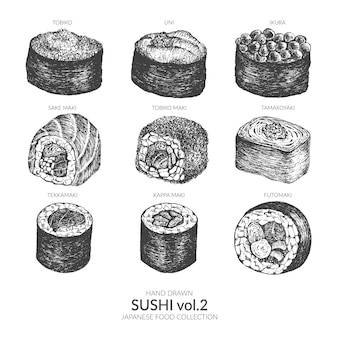 초밥 손으로 그린 일본 음식 세트.