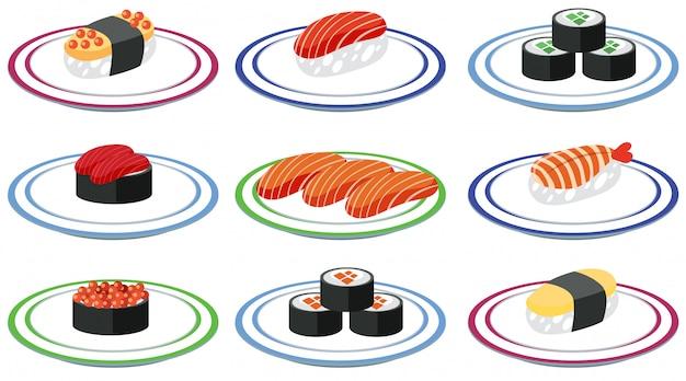 皿の上の寿司セット