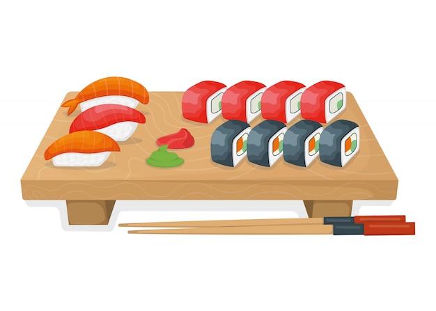 Комплект суш на деревянной доске кухни, крене тунца и концепции salmon minnow изолированной на белизне, иллюстрации шаржа.