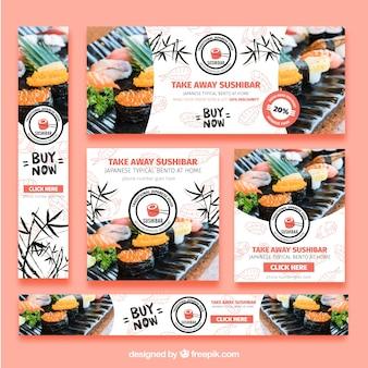 寿司レストランのバナーのセット